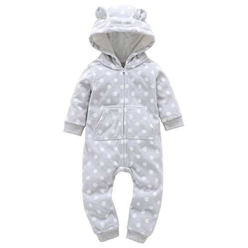 t Baby Jungen Mädchen Jumpsuit Dicker Grid mit Kapuze Strampler Outfit Kinder Kleidung (6M, GRAY2) (3 Jungs Halloween Kostüm Ideen)