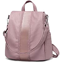 Women Backpack Purse, VASCHY Fashion Faux Leather Anti-theft Backpack for Ladies School Bag with Vintage Weave (Pink)
