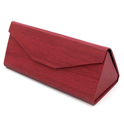 Huertuer Triangle Faltbar Gläser Case Brille Hard Case für Männer und Frauen (Rot)