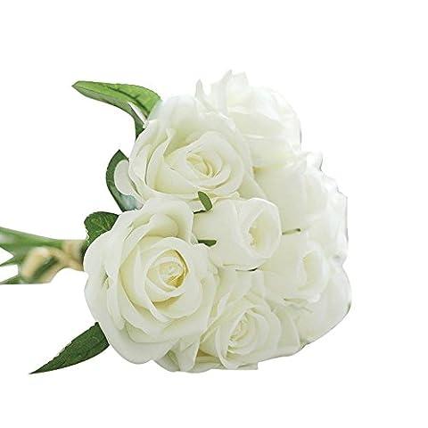 Ineternet 1 Bouquet 9 têtes Artificiel Rose Faux Soie de faux Fleur Feuille Bridal Home Party Decor de Mariage (Blanc)