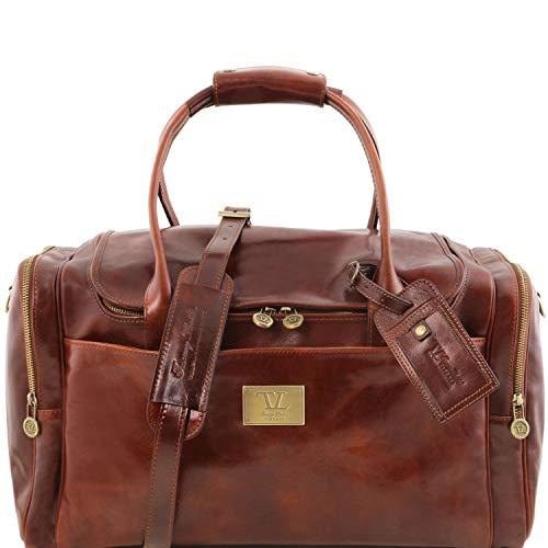 Tuscany Leather TL Voyager Sac de voyage en cuir avec poches aux côtés Marron