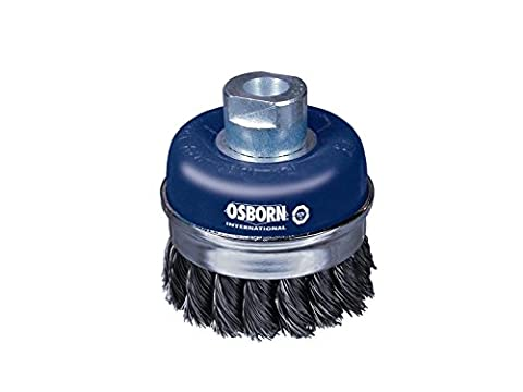 Osborn Pot Brush for Angle Grinder 125 mm, Diameter 75 mm, Thread M 14 x 2, Twisted Steel Wire 0.50 mm with Support Ring TUV Tested, Blue,