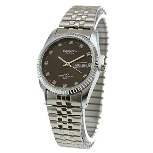 Swanson Japan Herren-Armbanduhr, mit schwarzem Zifferblatt, mit Reiseetui Check-krawatte Tie