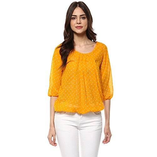 Mayra Women's Georgette Top (1708T09648_S Yellow)