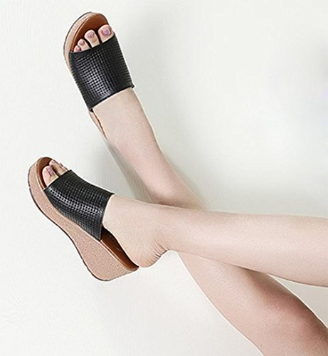 Mme sandales d'été et pantoufles sandales sauvages en coin épaisse croûte creux chaussures plates occasionnels Black