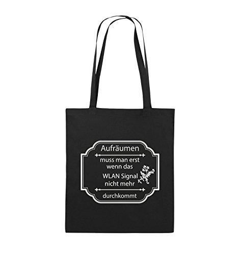 Comedy Bags - Aufräumen muss man erst, wenn - WLAN SIGNAL - Jutebeutel - lange Henkel - 38x42cm - Farbe: Schwarz / Silber Schwarz / Silber