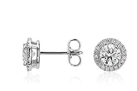 Gowe vintage Boucles d'oreilles rondes Or 14K Total 0.8carat Lab Cultivées moissanites Diamant Boucles d'oreille à tige Mariage Bijoux