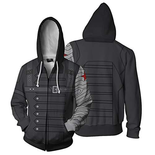 Winter Soldier Cosplay Kostüm Der - YKJL Männer Reißverschluss Hoodies Halloween Cosplay Kostüm 3D Realistisch Gedruckt Sweatshirts Outdoor Langarm Freizeitkleidung für Winter Soldier,Grau,4XL
