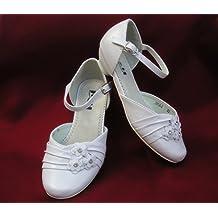 Comunión de zapatos de introducir festivas para niños niñas con-flores blanco