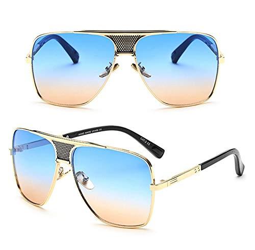 WDDYYBF Sonnenbrillen, Metal Square Eyewear Frame Sonnenbrillen Männer Retro Sonnenbrille Männlichen Oversize Schattierungen Fahren Gläser Uv 400 Gold Blau Tee