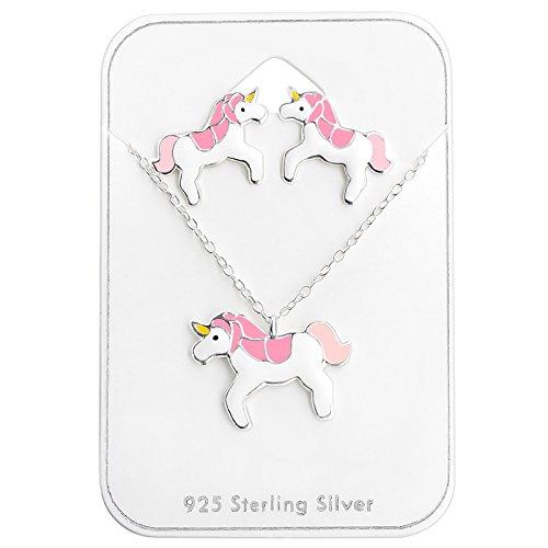 6a35b2aee6b0 6. monkimau Real de ley 925 plata unicornio Cadena Colgante con pendientes joyas  mujer chica Niños (Artículo