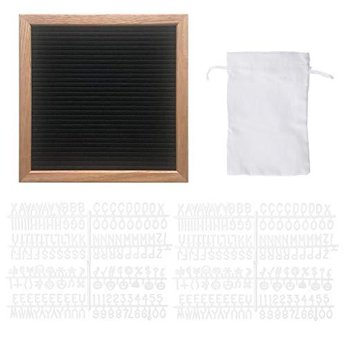 mentin feltro Letter Board 25x 25cm | retro quadro di visualizzazione scanalatura di legno | con 340lettere & numeri Bianco Colore e borsa M Nero