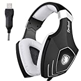 Sades OMG/A60S Over-Ear USB Casque Gaming Gamer Headset avec LED Lumière Contrôle...