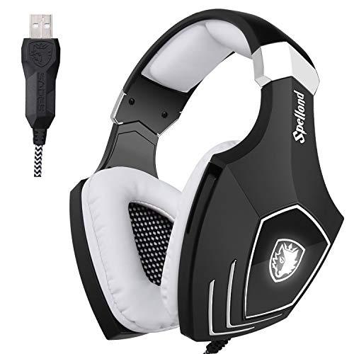 Sades OMG/A60S Stereo Surround USB Cuffia Gaming con Microfono Noise Cancelling Stereo Bass da Gioco Gamer LED Luce Regolatore di...
