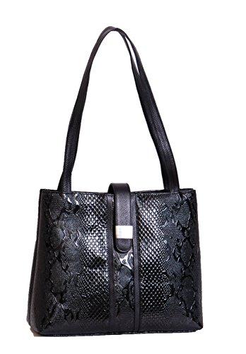 Echte Schlange Leder Druck Handtasche für Damen A1521 Lack Schwarz NEU Damen Tasche (Schlangenleder-tasche)