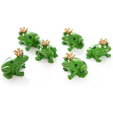6pequeños verde rana Reyes figuras con corona dorada como mesa de decoración o como pequeño regalo–nette Kleine Amuleto; 3cm