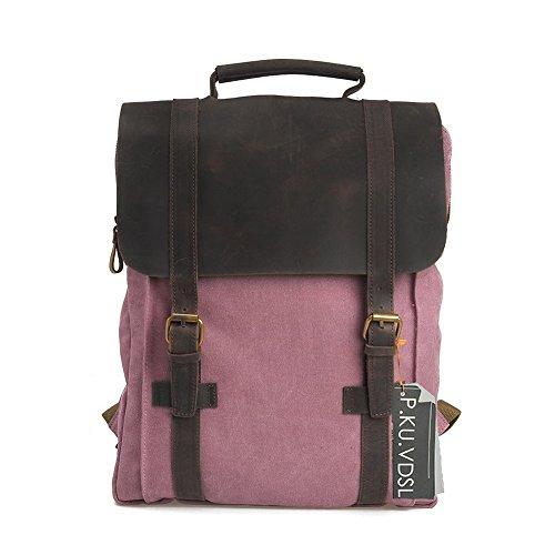 Imagen de  vintage de lona zainotelavintage p.ku.vdsl®  tipo casual y cuero bolso casual para viajes bolsa de escuela unisex  de a diario portátil bolsa adecuada para 15' cuaderno rosa  alternativa