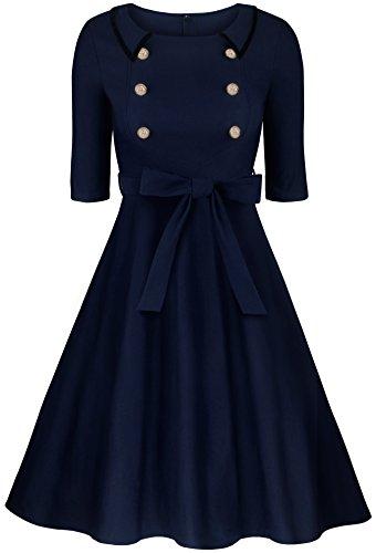 Angerella Damen Marine Stil Kleid 3/4 Ärmel Retro Party Kleider mit ...