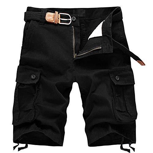 ELETOP Herren Shorts Cargo Summer Fashion Shorts Tarnung Lounge Casual Shorts Reines Schwarzes JD01-M+
