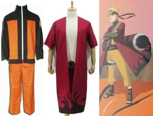 Kostüm Für Verkauf Cosplay Naruto - Sunkee Japanische Anime Naruto Cosplay Uzumaki Naruto Kostüm+Uzumaki Naruto Sage Mode Umhang , Größe XXL: (Höhe 178-182cm,Gewicht 80-90 kg)