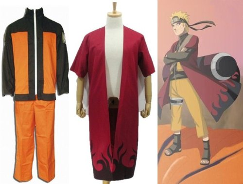 Sunkee Japanische Anime Naruto Cosplay Uzumaki Naruto Kostüm+Uzumaki Naruto Sage Mode Umhang , Größe XXL: (Höhe 178-182cm,Gewicht 80-90 kg) (Naruto Uzumaki Cosplay Kostüm)