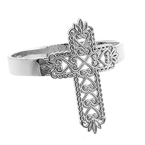 Little Treasures - 10ct White Gold Thorned Filigree Cross Ring