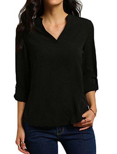 BIUBIONG Donna Chiffon Camicetta Maglietta Scollo V Manica Lunga Blusa Camicie Orlo Irregolare Elegante Casuale Black