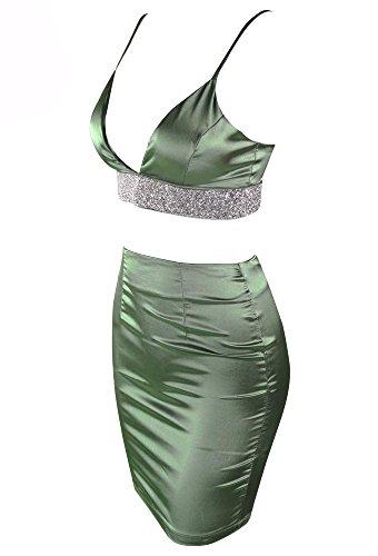 Missord Damen Cocktail Kleid Grau / Grün
