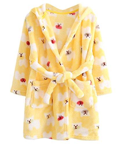 DELEY Unisex Bebé Niñas Niños con Capucha De Albornoz Suave Bata Invierno Pijamas Camisón Ropa De Dormir Amarillo Oso Tamaño 110
