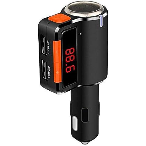 Koiiko® portatile ricevitore Bluetooth Musica Stereo trasmettitore FM controllo vivavoce Car Kit caricatore doppio USB (Frequenza Completa Trasmettitore Fm)