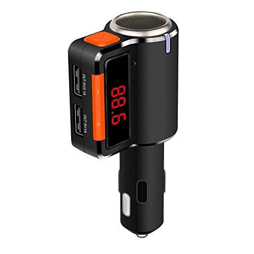 Koiiko® Wireless Stereo Bluetooth Trasmettitore FM Radio adattatore per auto kit con 5V/3.1A Dual porte (Frequenza Completa Trasmettitore Fm)