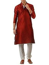 Mens Red Self Engraved Sherwani For Men