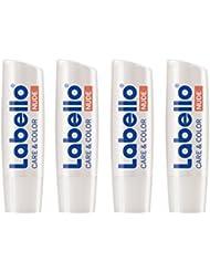 Labello Care & Color Nude, 2-in-1 Lippenpflegestift gegen trockene und spröde Lippen, 4er Pack (4 x 4,8 g)