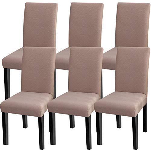 Fuloon Stuhlhussen 6er Set Universal Stretch Stuhlkissen Sessel überzug stuhlbezüge Protector Cover für Weihnachten Haus Esszimmer Moderne Hochzeit Bouquet, Hotel, Restaurant Dekor (6 Stück) -