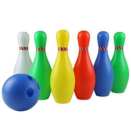 yoptote Birilli Bowling Set Bambini Giochi Multicolore 7 Pezzi Giocattoli di Birilli Bowling per Bambini 3+