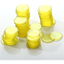 100pcs Juguetes Chips Fichas de Bingo Amarillo Transparente Plástico 3/4 Pulgadas