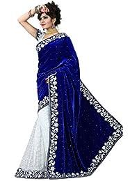 Brahmani Fabrics Women's Velvet & Net Saree With Blouse Piece (Chandanibluenew_Blue And White)