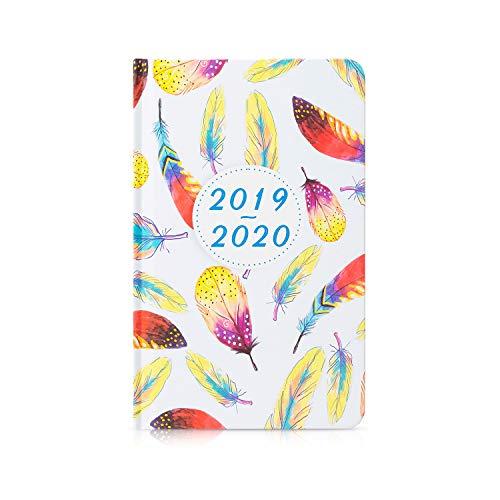 Cabbrix 2019-2020 Planer Akademischer Jahresplaner für Wochen- und Monatskalender, mit Federmuster, Hardcover und Doppeldraht Bindung 5.5