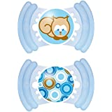 Mam Soft Silicone Soothers 6 Months (Blue-Clear)