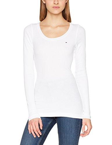 Tommy_Jeans Tjw Original Rib Longsleeve, T-Shirt Donna Bianco (Classic White 100)