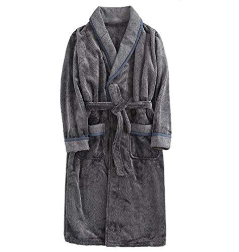 Lisay Herren Flanell Robe Winter Dicke Lange Bademäntel Warm Korallen Samt Pyjamas Bademantel (Farbe : Gray, größe : L)