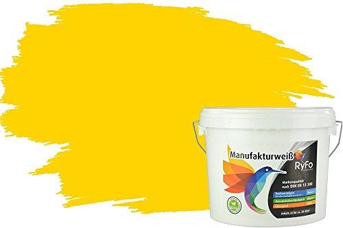 RyFo Colors Bunte Wandfarbe Manufakturweiß Kanariengelb 6l - weitere Gelb Farbtöne und Größen erhältlich, Deckkraft Klasse 1, Nassabrieb Klasse 1