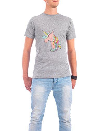 """Design T-Shirt Männer Continental Cotton """"Rosa Unicorn"""" - stylisches Shirt Tiere Fiktion von artboxONE Edition Grau"""
