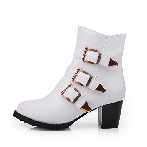 AgooLar Damen Rund Zehe Hoher Absatz Blend-Materialien Niedrig-Spitze Rein Stiefel, Weiß, 37
