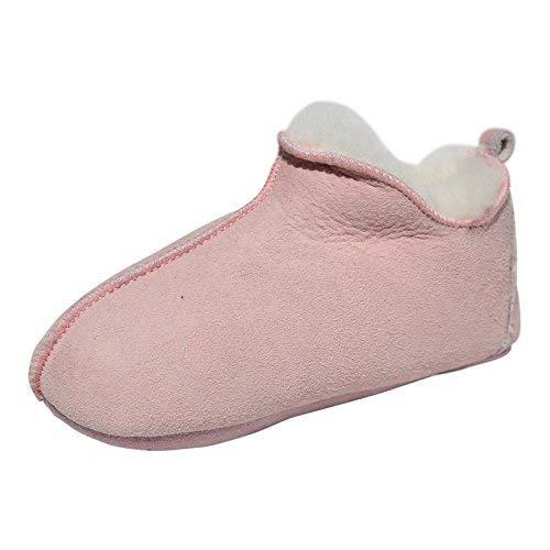Lammfell Hausschuhe - Bali Fellschuhe für Kinder mit Weicher Sohle Puschen Verschiedene Farben Schuhgröße EUR 25/26, Farbe Rosa