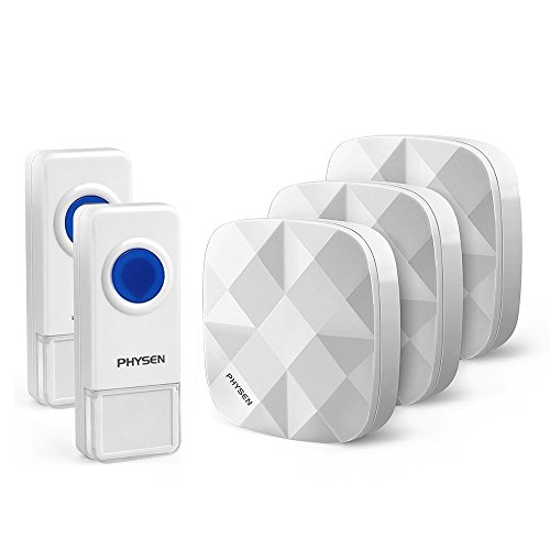 PHYSEN Kabellose Türklingel 2 Sender & 3 Empfänger, 300m Reichweite, 52 Klingelmelodien, 4-stufige Einstellbare Lautstärken, Keine Batterien benutzbar für Empfänger (Push-chime-taste)