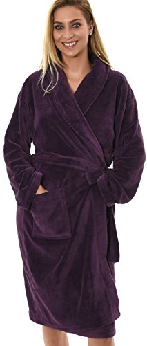 new-style-luxury-womens-ladies-girls-3-4-length-coral-fleece-wrapover-bath-robe-dressing-gown-with-b