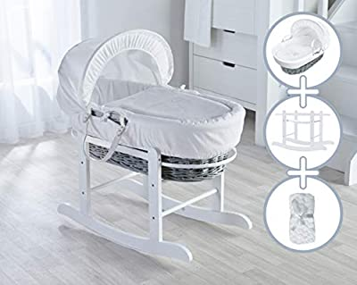 White Teddy Wash Day Moses Basket, Deluxe Rocking Stand and Honeycomb Blanket Bundle Deal