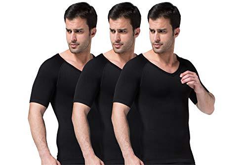 Sodacoda Herren Figurformendes Kompressions Unterhemd - Bauch-Weg T-Shirt V Neck (3X Schwarz XL) -