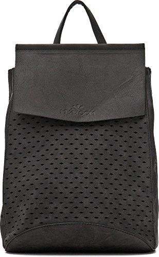 Stylischer Damen Rucksack - Damentasche mit Schulterriemen - Daypack mit Rautenmuster- 21 x 27 x 17,5 cm - Schwarze Schultertasche von MIYA BLOOM Schwarz